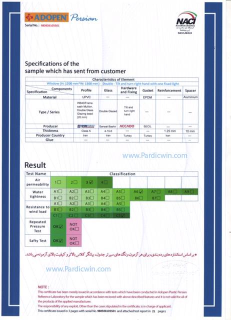 Pardicwin,standard certificate.ral standard of iran.,best upvc producer in iran2