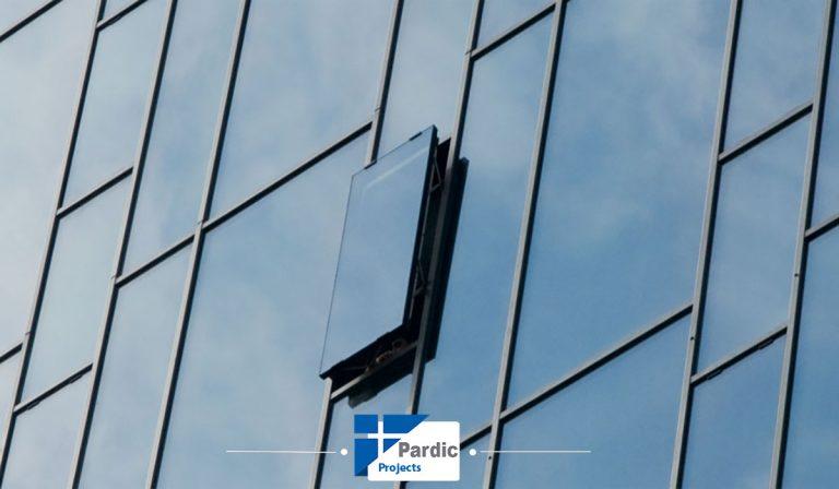بازشو های پارالل در سیستم های لامل (کرتین وال) گلوب آلوم پاردیک
